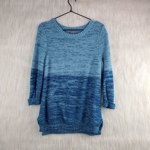 NY Collection Blue Grey Ombre Sweater Large